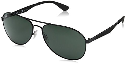 Ray-Ban Men's Metal Man Aviator Sunglasses, Matte Black, 61 - Ray Matte Ban Black