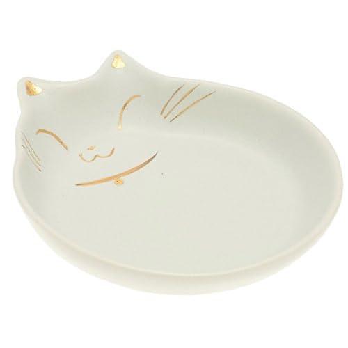 Kotobuki Cat-Shaped Cat Bowl, White/Gold