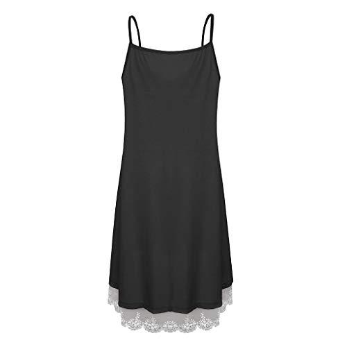 - Women's Adjustable Strappy Dress Skater Swing Button Up Dress Lace Patchwork Plain Mini Dress Causal Beach Dresses Black