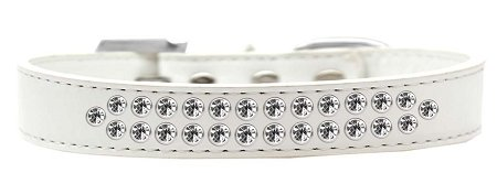 Mirage Pet Products Two Row Clear Crystal White Dog Collar, Size 20 by Mirage Pet Products