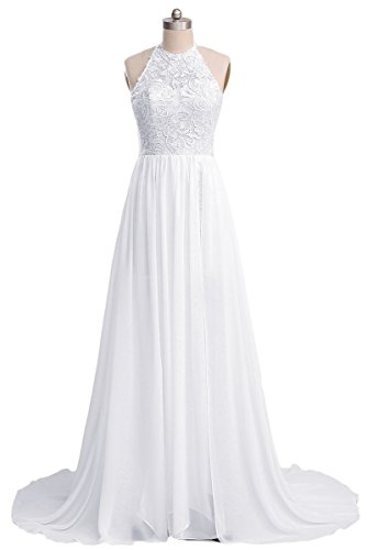 Ruolai Lace Chiffon High Slit Beach Wedding Dress Simple Bridal Dresses LC-White 2