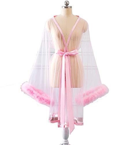 (Changuan Sexy Feathers Short Wedding Evening Prom Robe Long Sleeve Bathrobe Sleepwear Loungewear Short-Pink S/M)