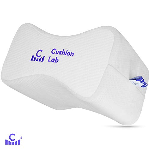Cushion Lab Extra Dense Orthopedic Knee Pillow for Side Sleepers Back Pain Relief - Leg Support Pillow for Hip, Pregnancy, Sciatica, Joint Pain Relief - Self Care Memory Foam Wedge Contour Pillow