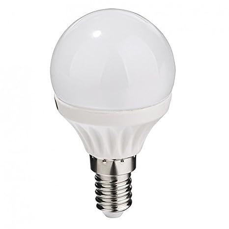 Bombilla LED esférica 7W de rosca E14 Luz cálida 3000ºK. Alta luminosidad 600 Lm. Ref. 216-486: Amazon.es: Iluminación