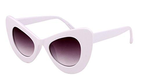FEISEDY Cat Eye Retro Acetate Frame Polycarbonate Lenses Women Sunglasses - Retro Sunglasses White