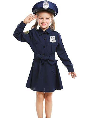 A&J DESIGN Little Girls Police Officer Costume Uniform with Hat (Navy Blue, Small)]()