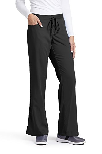 Grey's Anatomy Women's Junior-Fit Five-Pocket Drawstring Scrub Pant - Medium Petite - Black (Drawstring Petite)