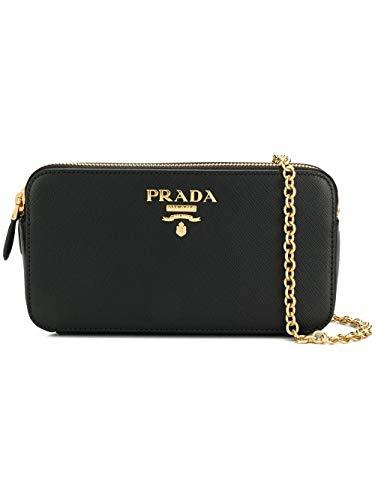 (Prada Women's 1Dh010qwaf0002 Black Leather Shoulder Bag)