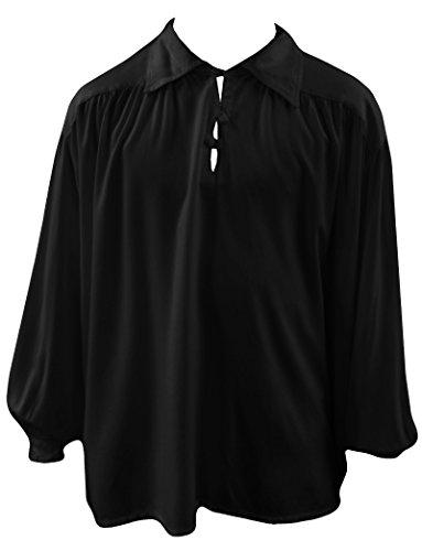 Men's Black Medieval Gothic Buttons Baggy Romantic Larp Shirt (Gothic Medieval Clothing)