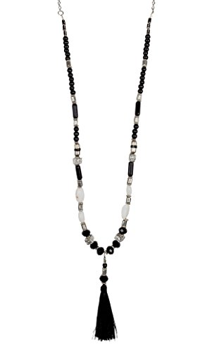 Black and White Beaded Tassel Necklace | SPUNKYsoul Collection