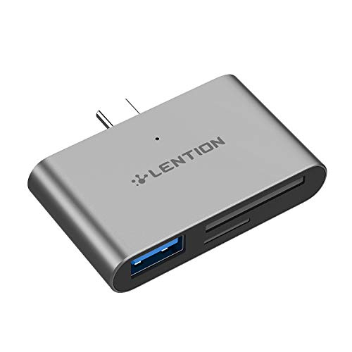 LENTION USB C to USB 3.0 + SD/Micro SD Card Readers Compatible MacBook Pro (Thunderbolt 3), 2018 2019 iPad Pro & Mac Air, MacBook 12, Surface Book 2/Go, Chromebook, More Type C Devices (Space Gray)