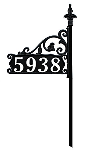 Address America USA Handcrafted in Our Small Family Shop Boardwalk Reflective 911 Double Sided Black Home Address Sign for Yard - Custom Made Address Plaque - Wrought Iron Look Exclusively - Sign Christmas Post