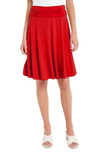 12 Ami Solid Basic Fold-Over Stretch Midi Short Skirt Red Small