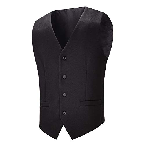 BOTVELA Mens Casual Dress Vest 4 Button Waistcoat (Black, XXL)