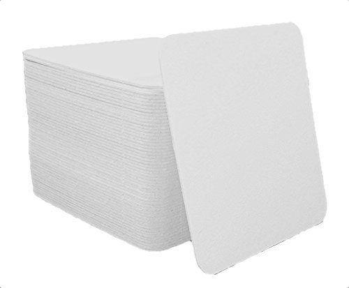 Qty 50 Plain White Square Coasters - By Kokel Cookware (Coaster Square Weight)