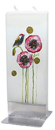 (Bird on Poppies Motif Twin Wick Handmade Flat Candle Approx 6