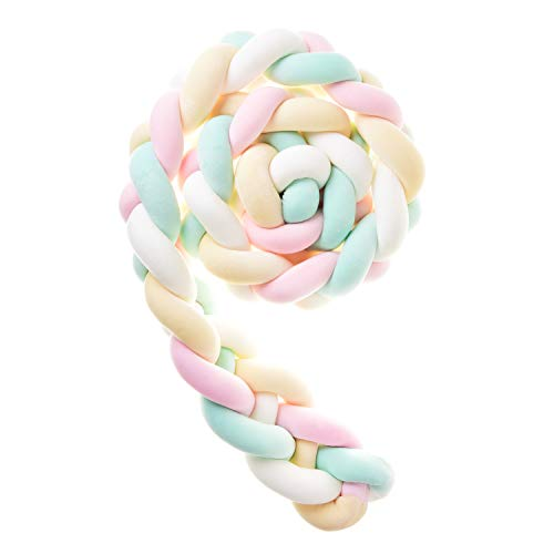 Baby Braided Crib Bumper Knotted Braided Plush Nursery Cradle Decor Newborn Crib Soft Pillow Baby Sleeping Pillow<4 Strands,118inch,Pink+Yellow+White+Green>