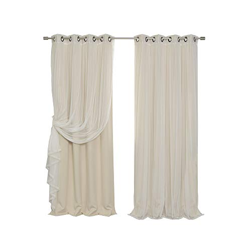 - Best Home Fashion Mix & Match Tulle Sheer Lace & Blackout Curtain Set - Antique Bronze Grommet Top - Beige - 52