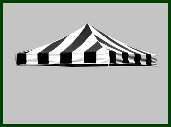 3 X Pop Up Gazebo Commercial Tent Replacement Canopy Top Cover Stripe Black