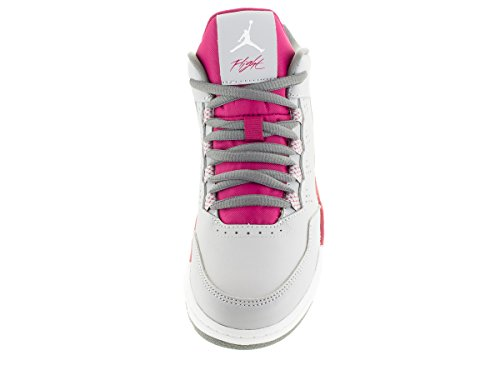 Nike Mädchen Jordan Flight Origin 2 GP Turnschuhe Grau / Weiß / Violett / Grau (Wlf Gry / White-Sprt Fchs-Cl Gry)