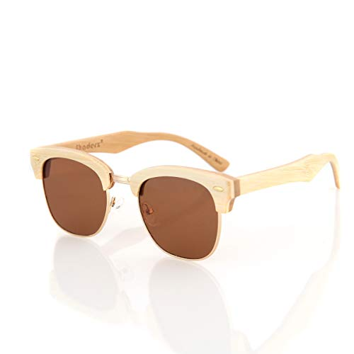 Bamboo Wood Wooden Sunglasses by Shaderz - Vintage Retro Classic 100% Natural Eco Friendly Handcrafted Lightweight Club Unisex Half Semi-Rimless Rimmed Frames - Pouch Included - CM Brown