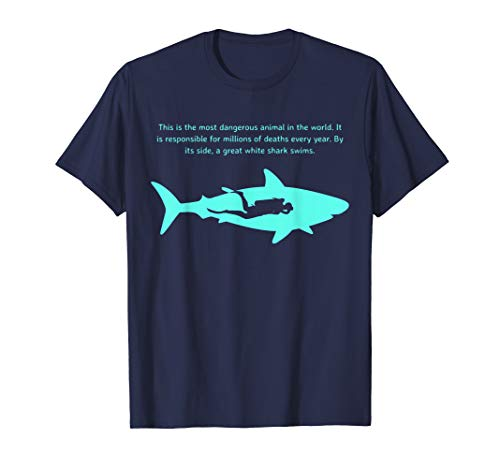 Most Dangerous Sharks - Dangerous Animal Scuba Diver T-Shirt Great White Shark Tee