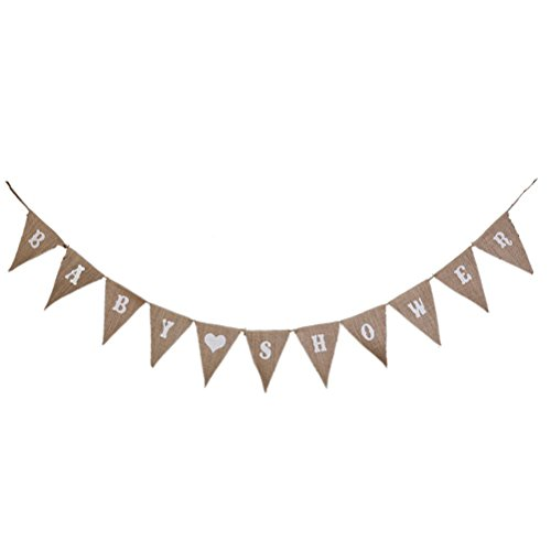 Pixnor BABY SHOWER Hessian Bunting Banners Party Decoration 11 (Banner For Baby Shower)