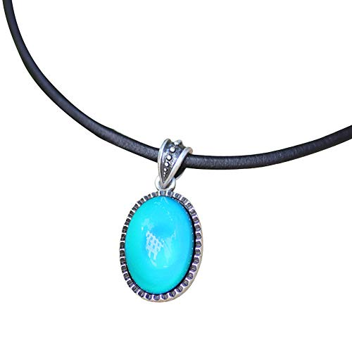MOJO JEWELRY Magic Color Change Mood Stone in Antique Sterling Silver Finish Classic Oval Pendant Leather Necklace Mood Necklace (Mood Stone Necklace)
