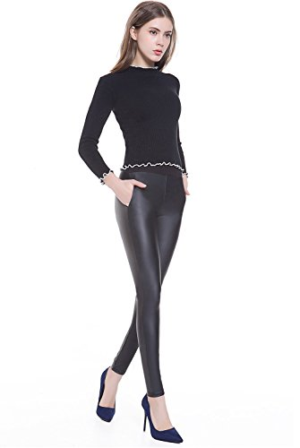 49f224ab95f Everbellus Black Faux Leather Leggings for Women Stretch Leather Pants  X-Large