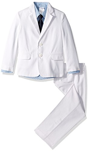 Nautica Boys' 4-Piece Suit Set with Dress Shirt, Tie, Jacket, and Pants, Twill White/Blue, 4T (Boys Dress Twill Pant)