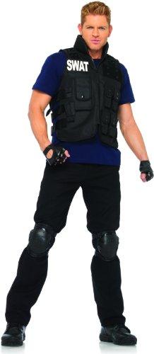 [Leg Avenue Men's 4 Piece SWAT Costume, Black, One Size] (Swat Vest Costume)