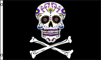 NEOPlex Pirate Sugar Skull Traditional Flag]()