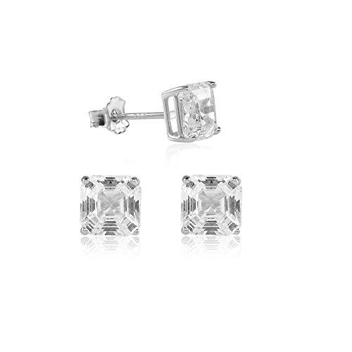 Asscher Cut 6x6mm White Cubic Zirconia Basket Setting Rhodium Plated Stud Earrings (Asscher Stud)