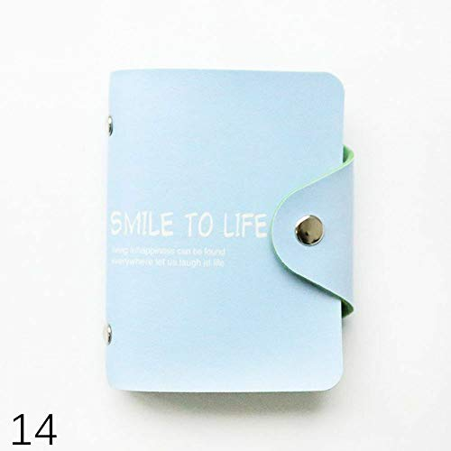 - 24 Bits Cards ID Card Holder PU Leather Credit Card Passport Card Bag (Type - 14 Smile to life light blue)