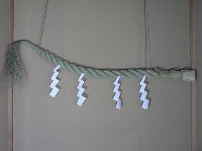 青い実取らずのワラから作った【 神棚用しめ縄 6尺(170cm) 御幣付】 B004DS3EIA