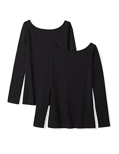 Amazon Brand - Daily Ritual Women's Stretch Supima Long-sleeve Ballet Back T-Shirt, Black/Black, X-Large
