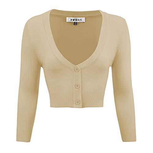 YEMAK Women's Cropped 3/4 Sleeve Bolero Button Down Cardigan Sweater CO129-TPE-2X Taupe