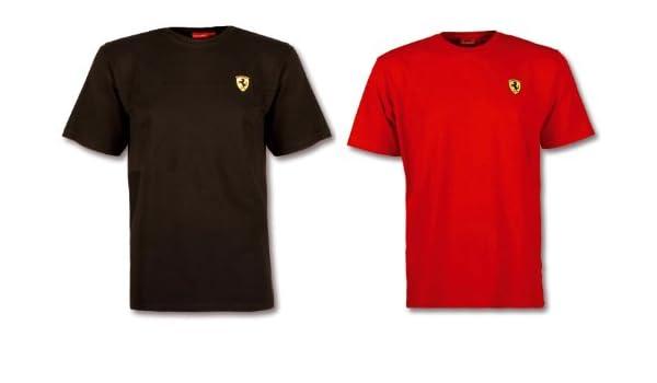 Scuderia Ferrari Mens Black Classic T-Shirt With Large Scudetto Print On Chest