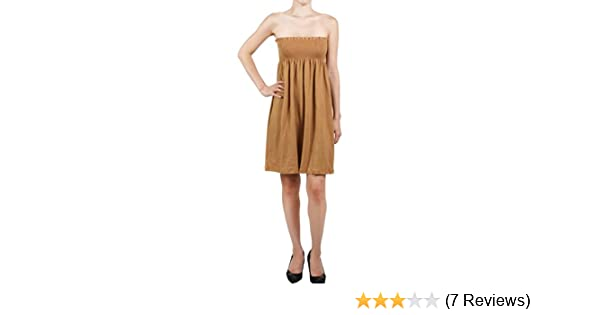 f561bd56bfa Women s Summer Beach Short Dress Smocked Tube Top Sundress Solid Plain  cover up (Small