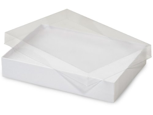 7x5x1-1/4'' Clear Lid Jewelry Boxes White Base ~ Non-tarnish Cotton (Unit Pack - 100)