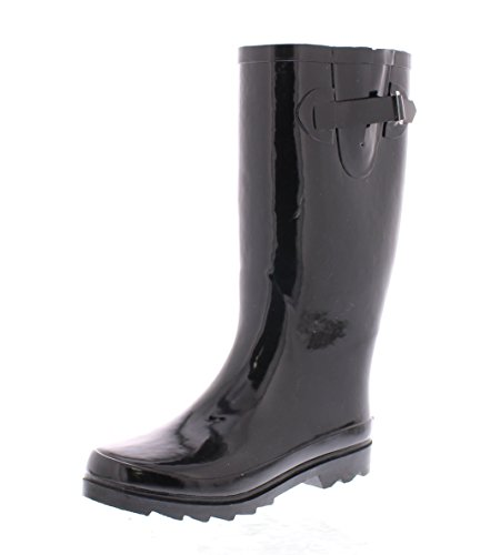 Black Wellies - Marilyn Monroe Women's Basic Tall Buckle Rainboot Shoes, Waterproof Jelly Pull On Mid-Calf Welly Boots Black 9 US