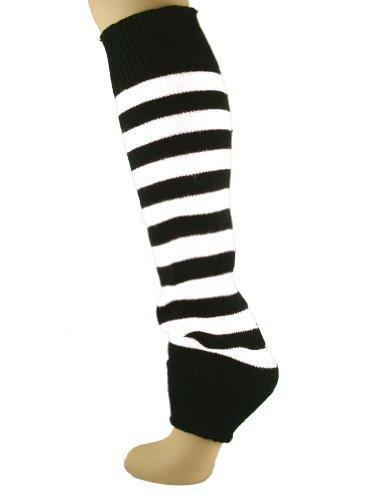 Leg Warmer Stripe White Black