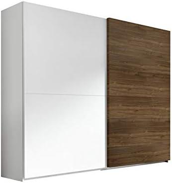 Tousmesmobili - Armario de 2 puertas correderas, color blanco y nogal oscuro – Anice n.° 1 – 275 x 64 x 218 – Nuevo: Amazon.es: Hogar