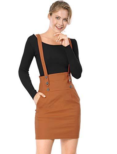 Allegra K Women's Back to High Waist Straight Braces Suspender Skirt L Brown (Lycra Suspender)