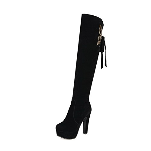 Allhqfashion Women's Solid High-Heels Pull On Round Closed Toe Boots Black