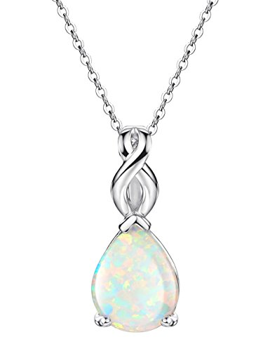 White Opal Necklace Pendant Sterling Silver Teardrop October Birthstone Infinity Jewelry for Women 18 inch