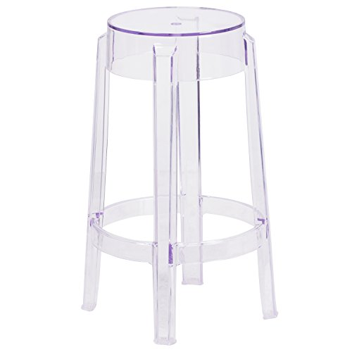 Flash Furniture 25.75'' High Transparent Counter Height Stool - Stool Bar Acrylic White