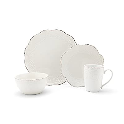 Pfaltzgraff Everly 16-Piece Stoneware Dinnerware Set, Service for 4 - This 16-piece dinnerware set, service for four, includes 4 each of: 10-1/2 inch dinner plate, 8-1/2 inch Salad plate, 6-inch bowl, and 12-ounce mug A raised bead pattern adorns each piece, and the dramatic, scalloped edges are highlighted by color markings Made from high-quality stoneware for long lasting beauty and durability - kitchen-tabletop, kitchen-dining-room, dinnerware-sets - 31yUTcuhwEL. SS400  -