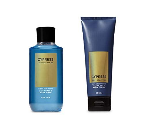 - Bath and Body Works Men's Collection Cypress 2 in 1 Hair and Body Wash 10 Oz and Body Cream 8 Oz.