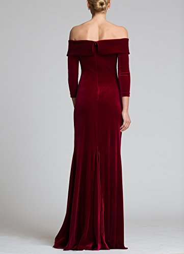 Long DreHouse Shoulder Mermaid Women's Off Purple Velvet Prom Evening Gowns Dress The 2018 qBFwZfq
